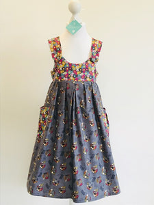 Wishfairy Polly Dress (Rosettes and Horses on Warm Grey)