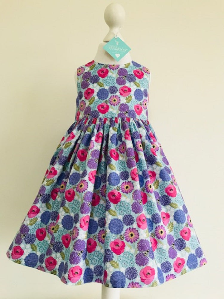 The Wishfairy Eve Dress 'Allium & Poppies on Blue with Honeycomb'