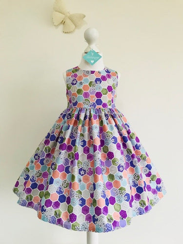 The Wishfairy Eve Dress 'Bee Hexagon Greens'