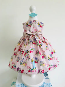 The Wishfairy Bunty Baby Dress (Birdhouses on Pink)
