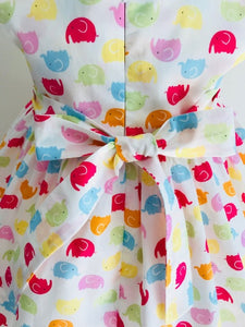 The Wishfairy Bunty Baby Dress (Multi Coloured Elephants)