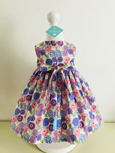 The Wishfairy Bunty Baby Dress (Allium & poppies on white)