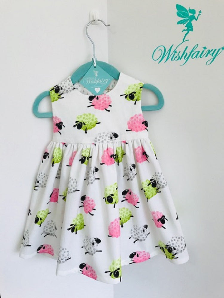 The Wishfairy Bunty Baby Dress (Fluffy Sheep) Green, White and Pink