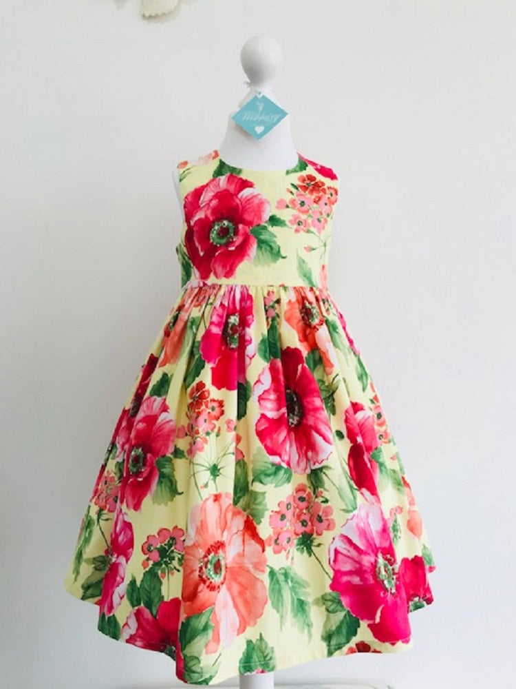 The Wishfairy Eve Dress 'Large Red Roses in Bloom Fabric'