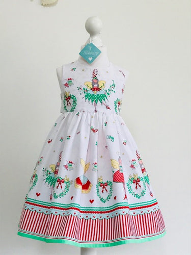 The Wishfairy Eve Dress 'Christmas Fairies on White'