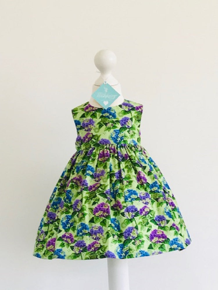 The Wishfairy Bunty Baby Dress (Hydrangea Blooms on Green)