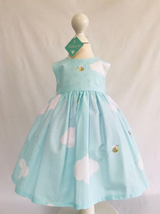 The Wishfairy Bunty Baby Dress (Bumble Bees and Fluffy Clouds)