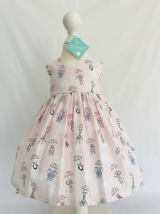The Wishfairy Bunty Baby Dress (Parachuting Baby Animals on Pink)