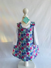 The Wishfairy Reversible Pixie Pinafore Baby Dress (Allium and Poppies on Blue)