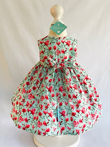 The Wishfairy Bunty Baby Dress (Magnolia Flowers on Mint Blue)