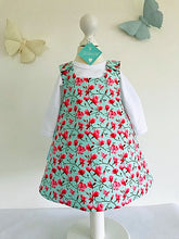 The Wishfairy Reversible Pixie Pinafore Baby Dress (Magnolia Flowers on Mint)