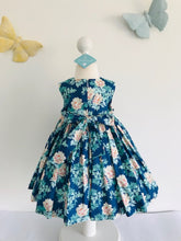 The Wishfairy Eve Dress 'Peach Floral on Blue'