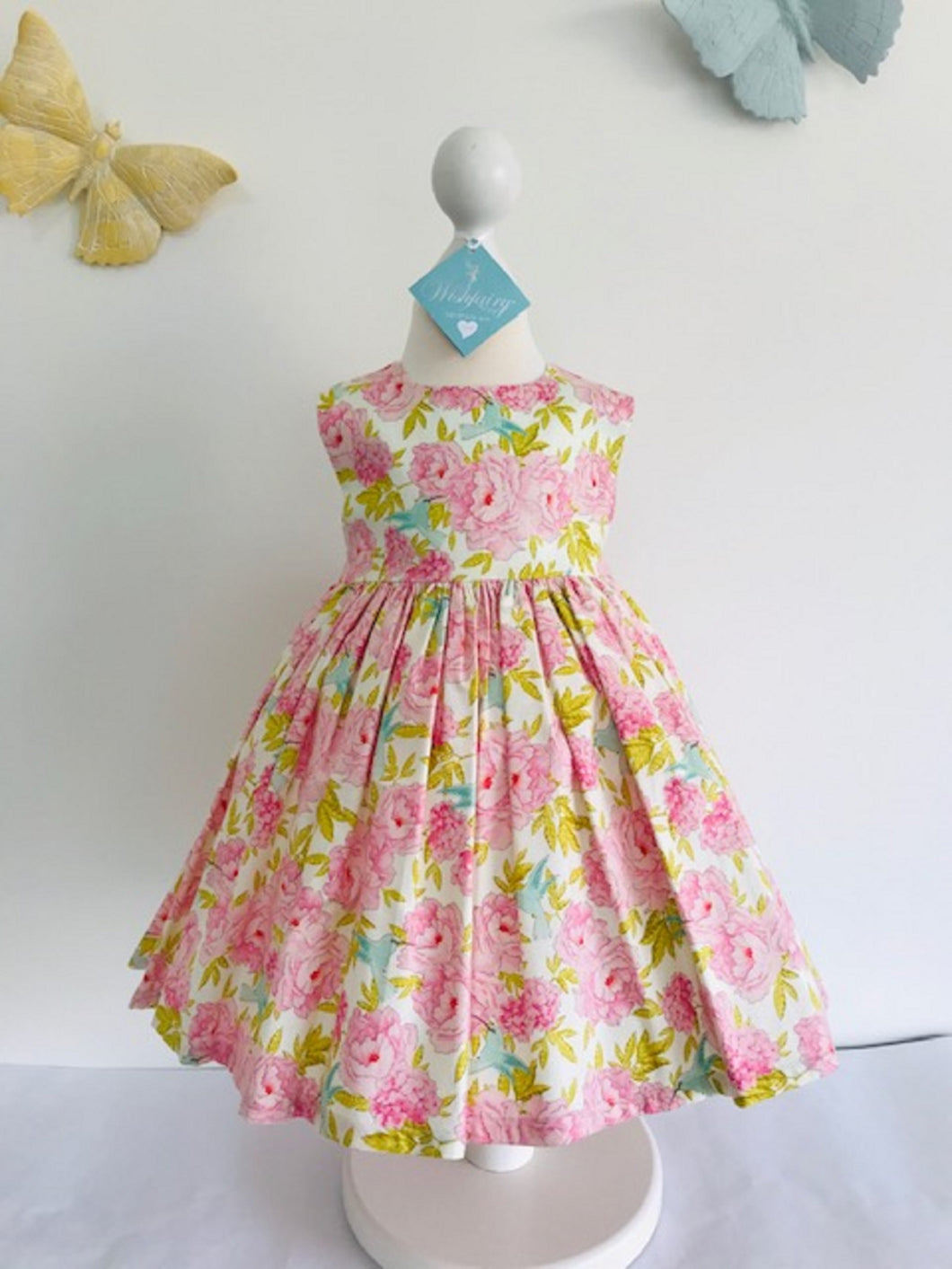 The Wishfairy Bunty Baby Dress (Humming Birds on Pink Blooms )