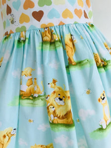 The Wishfairy Bunty Baby Dress (Lion Family and Hearts)