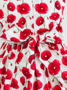 The Wishfairy Eve Dress 'Red Poppies On White'