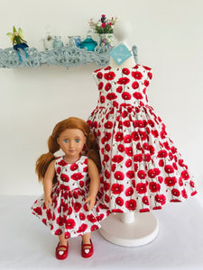 The Wishfairy Bunty Baby Dress (Large Red Poppies on White)