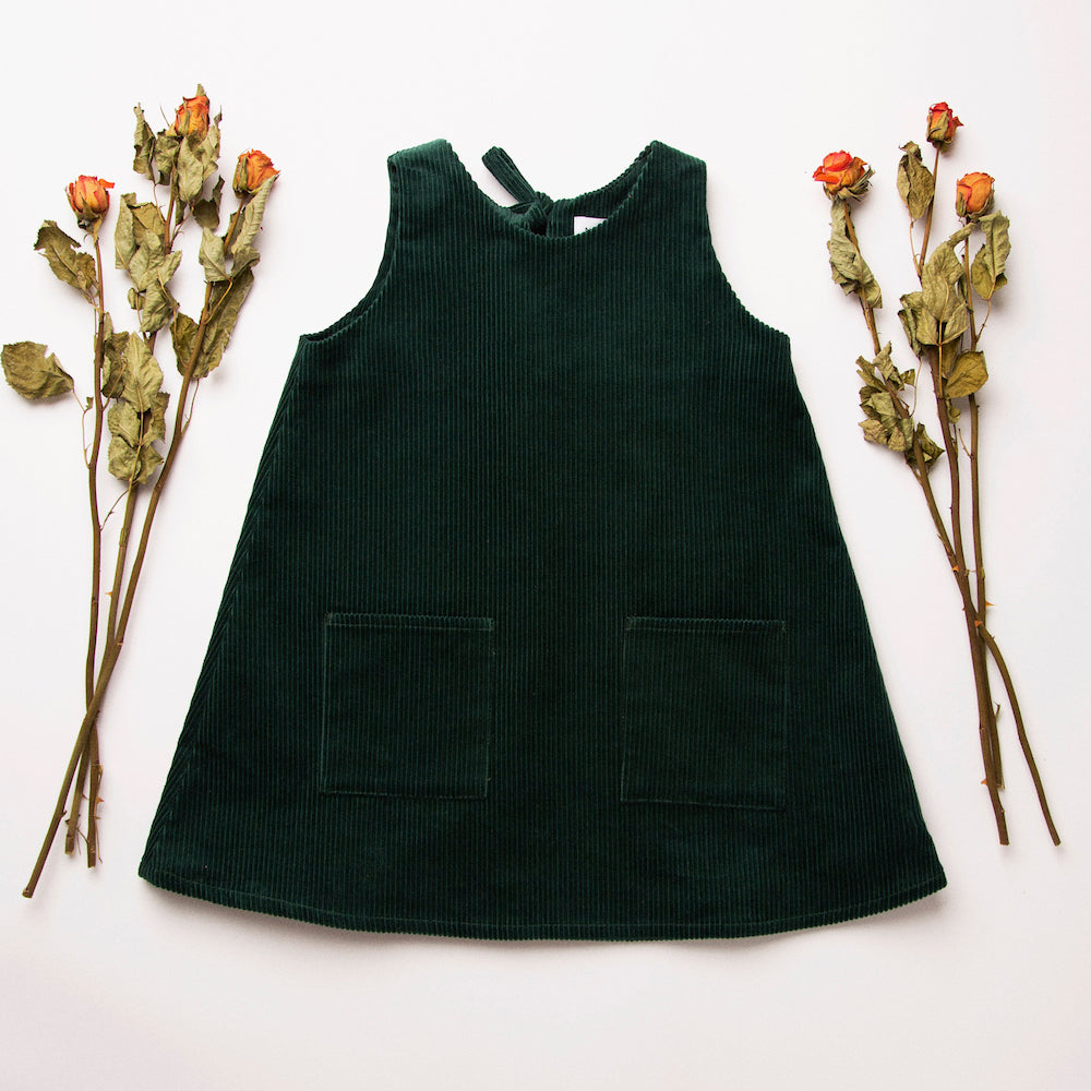 Tip Toe Pinafore - Corduroy Forest Green