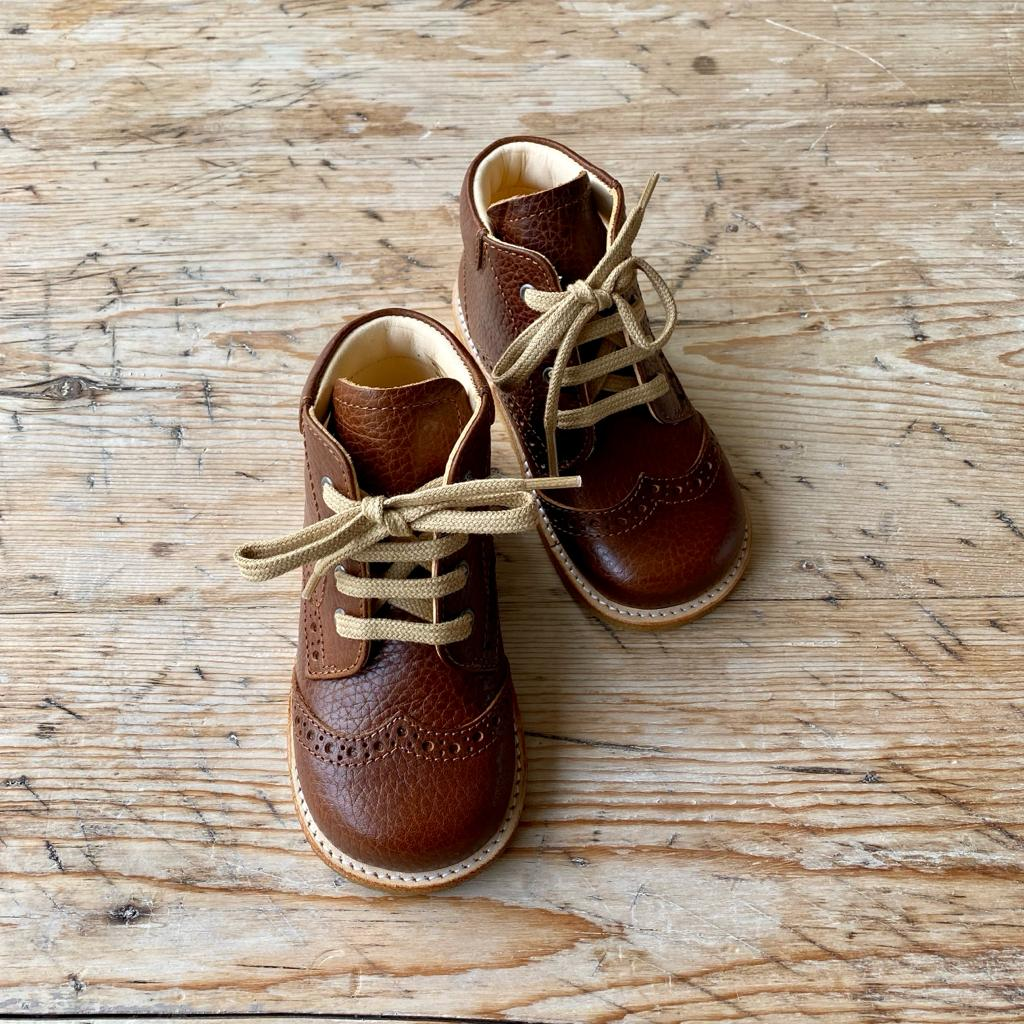 Starter Shoes with Laces - Cognac