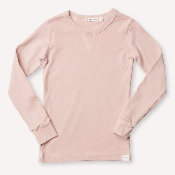 Organic Cotton Dominique Long Sleeve Crew Dusty Pink