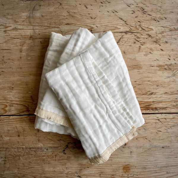 Dove Dovelet Organic Cotton Quilted Muslin Blanket with Fringe