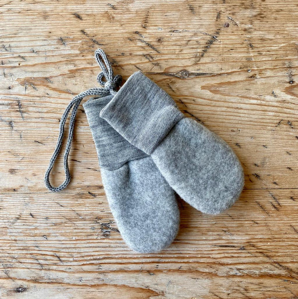 Engel Organic Wool Fleece Baby Mittens - Light Grey