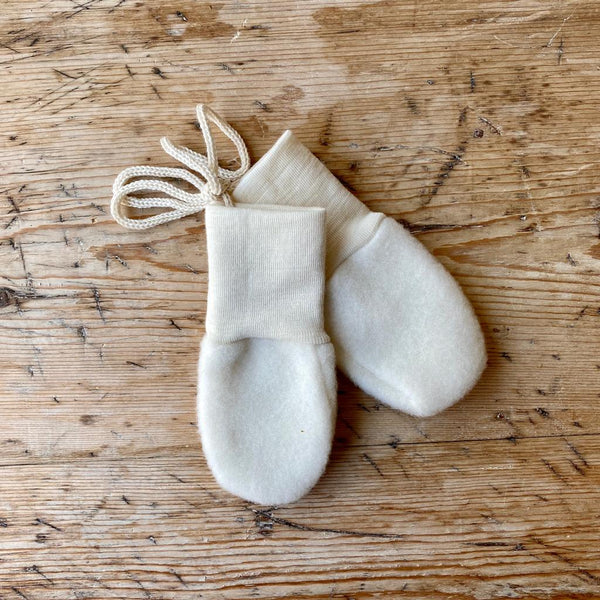 Engel Organic Wool Fleece Baby Mittens - Natural
