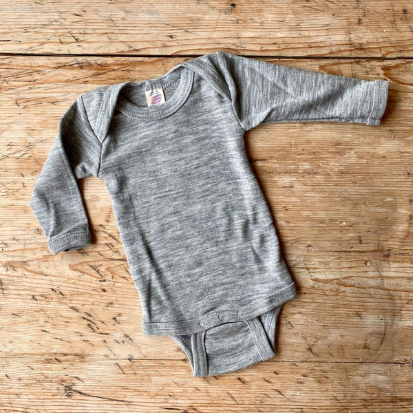 Engel Organic Wool & Silk Long Sleeve Baby Body - Light Grey