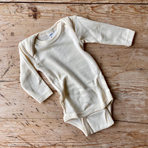Engel Organic Wool & Silk Long Sleeve Baby Body - Natural