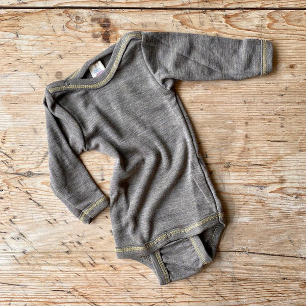 Engel Organic Wool & Silk Long Sleeve Baby Body - Walnut