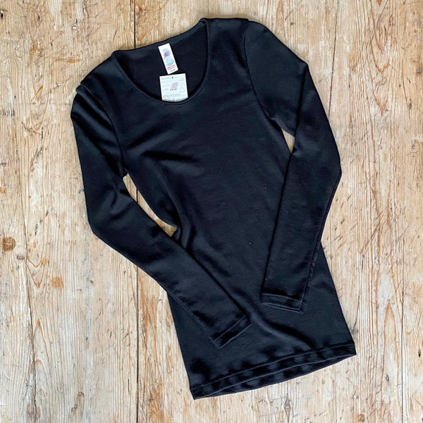 Organic Wool & Silk Women's Long Sleeve Top Black