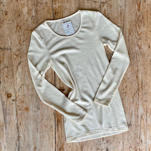 Engel Organic Wool & Silk Women's Long Sleeve Top Natural