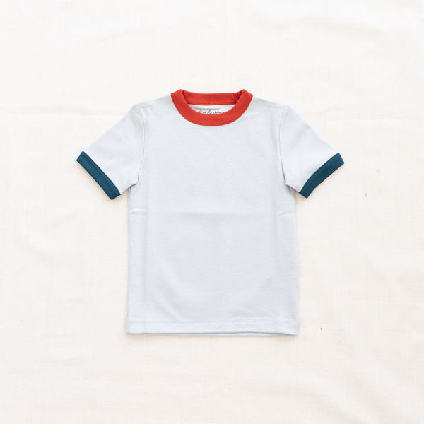 Fin Vince Vintage Tee - Cornflower with Ocean & Brick Red Trim