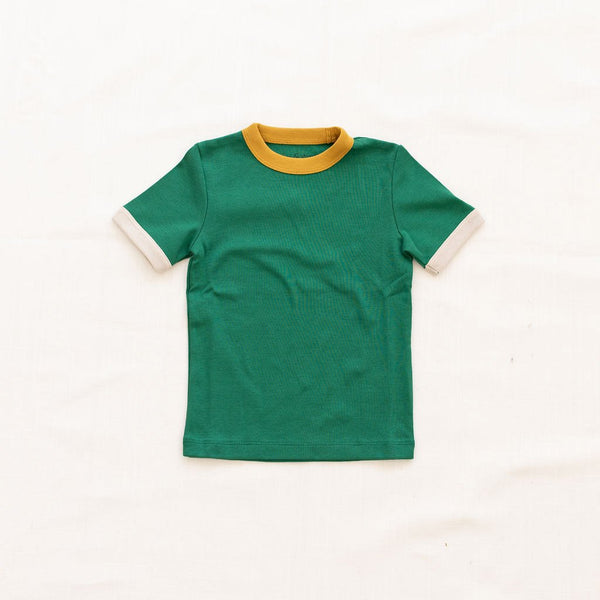 Fin Vince Vintage Tee - Emerald with Goldenrod & Oatmeal Trim