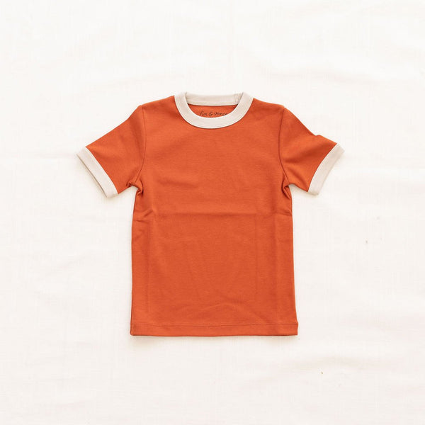 Fin Vince Vintage Tee - Red Rock with Oatmeal Trim