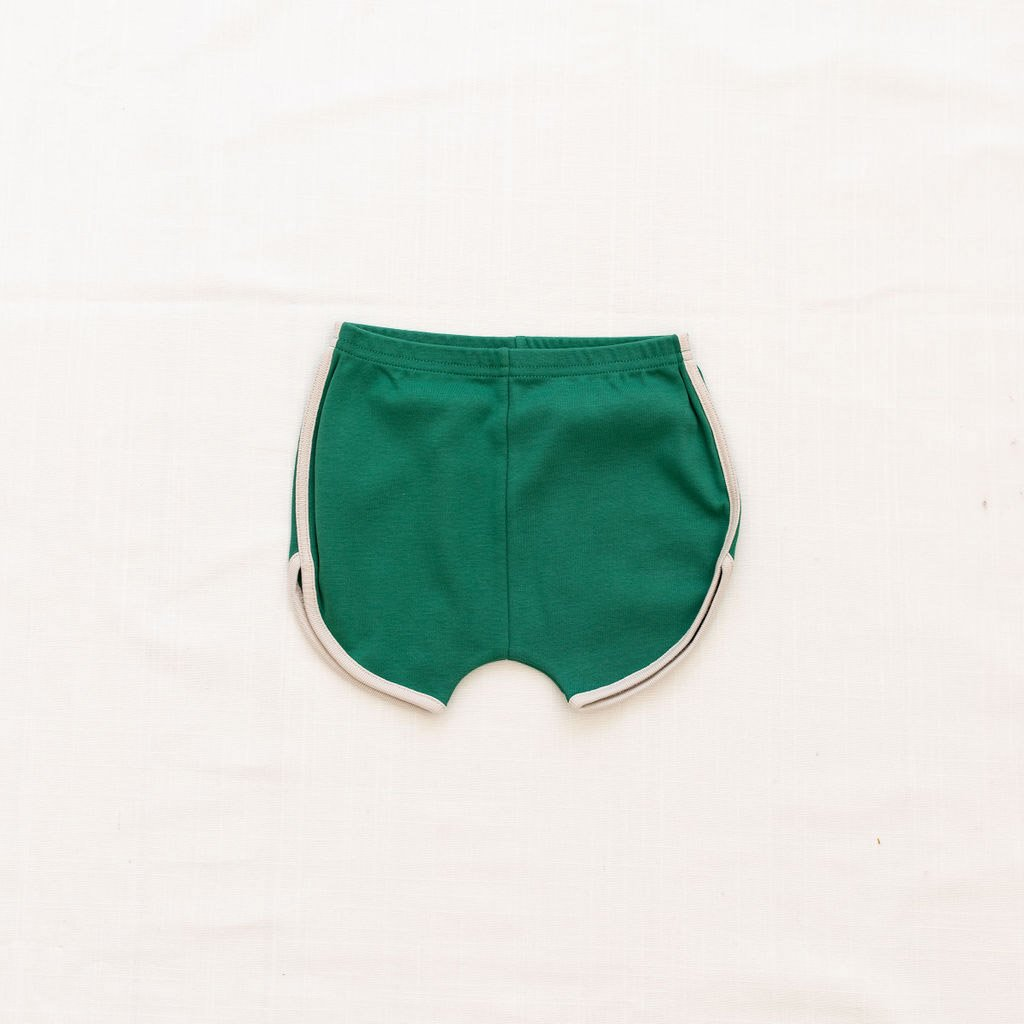 Fin Vince Vintage Track Shorts - Emerald with Oatmeal Trim
