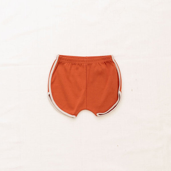 Fin Vince Vintage Track Shorts - Red Rock with Oatmeal Trim