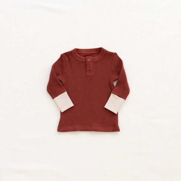 Fin & Vince Waffle Henley Top gingerbread