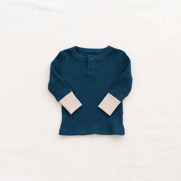 Fin & Vince Waffle Henley Top royal blue