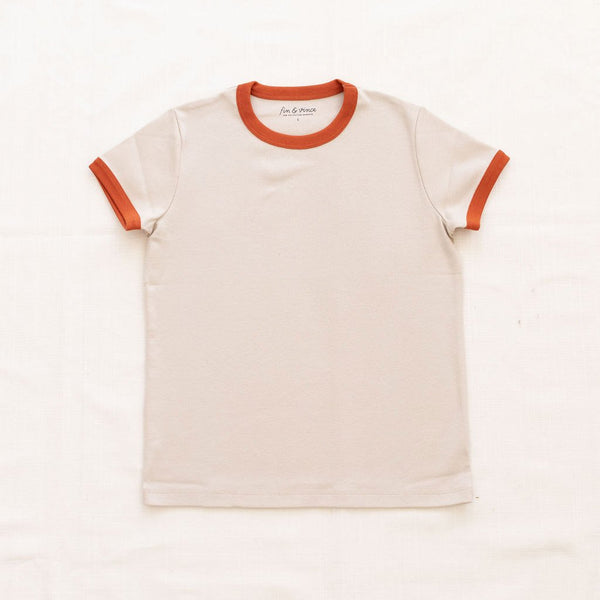 Fin Vince Women's Vintage Tee - Oatmeal with Red Rock Trim