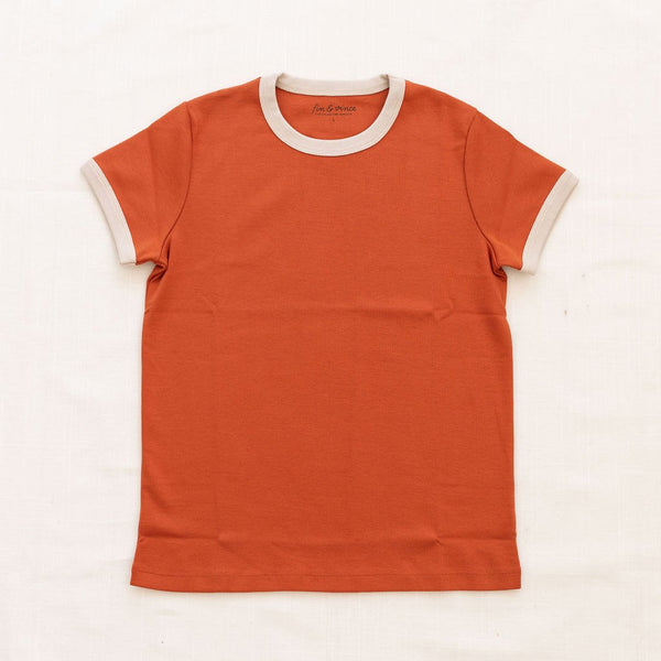 Fin Vince Women's Vintage Tee - Red Rock with Oatmeal Trim
