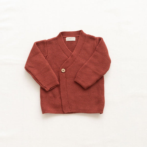 Fin & Vince knitted wrap cardigan gingerbread