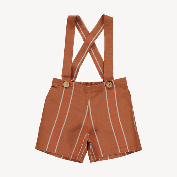 Fin and Vince suspender short rust stripe
