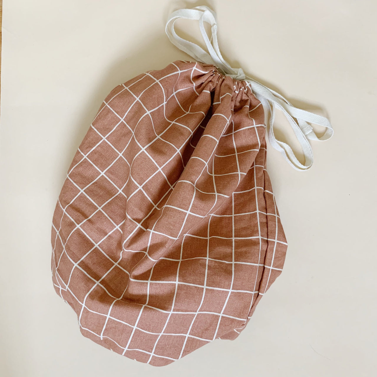 Organic Cotton Multi Bag Big - Check Terracotta