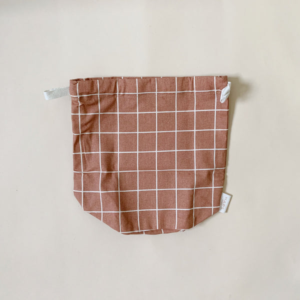 Organic Cotton Multi Bag Small - Check Terracotta