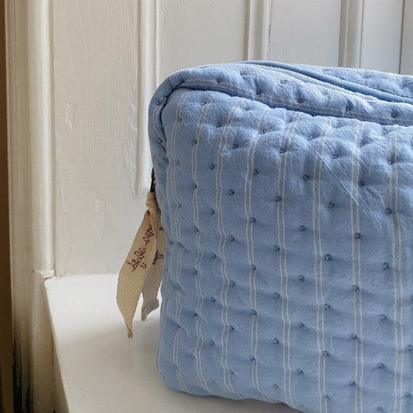 Organic Cotton Quilted Toiletry Bag Large - Bel Air Blue / Champagne