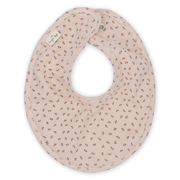 Konges Slojd Organic Cotton Newborn Bib - Tiny Clover Rose