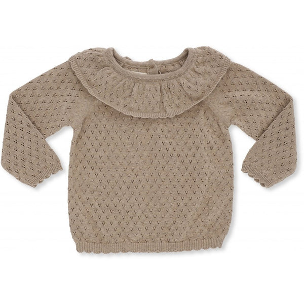 Konges Slojd ORGANIC COTTON KNIT FIOL COLLAR TOP BROWN MELANGE