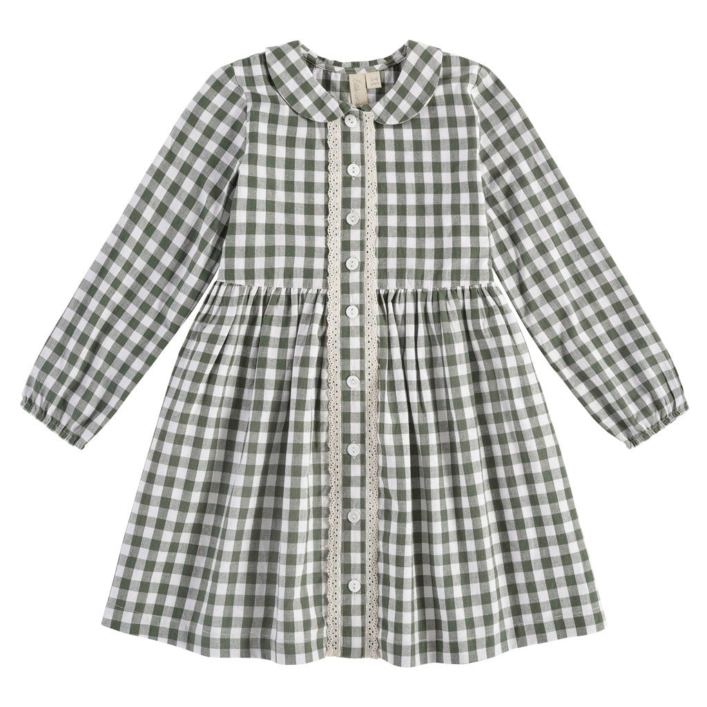 Little Cotton Clothes Agatha dress - forest green gingham