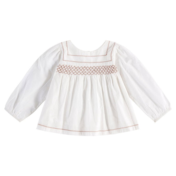 Little Cotton Clothes Charlotte hand smocked blouse - off white