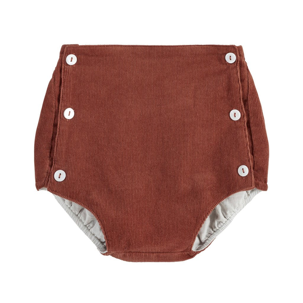 Little Cotton Clothes Folkestone button front bloomers - clay corduroy